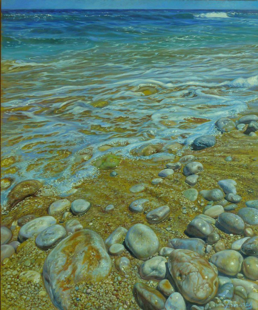 """Piedras Marinas"" óleo sobre madera, 46x38 cm"