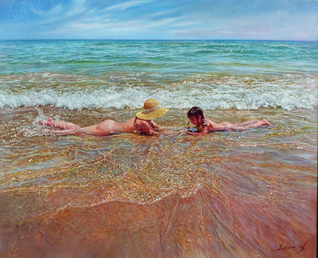 """Sirenitas"", óleo sobre lienzo 100x81 cm"